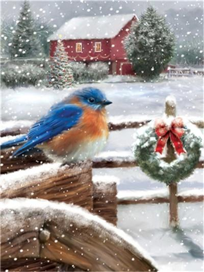 Blue Christmas Bird - Diamond Painting Corner