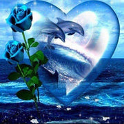 Blue Dolphins, Rose and Heart - Diamond Painting Corner