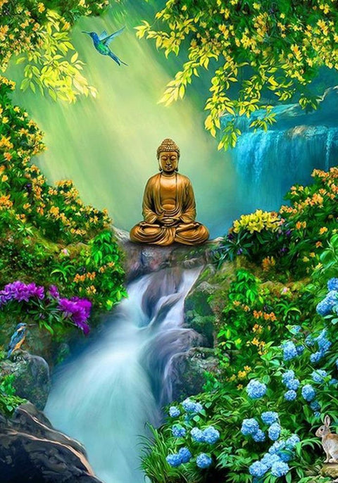 Buddha with Waterfall Diamond Painting Kit - Diamond Painting Corner