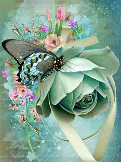 Butterfly on Flower Diamond Painting Kit - Diamond Painting Corner