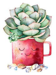 Cactus in Smiling Cactus Cup - Diamond Painting Corner
