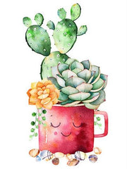 Cactus with Yellow Flower - Diamond Painting Corner