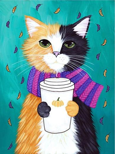 Cat with Scarf and Drink - Diamond Painting Corner
