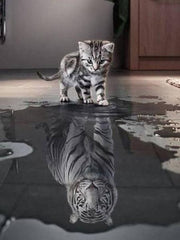 Cat with White Tiger Reflection - Diamond Painting Corner