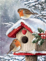 Christmas Birds in Wooden House - Diamond Painting Corner