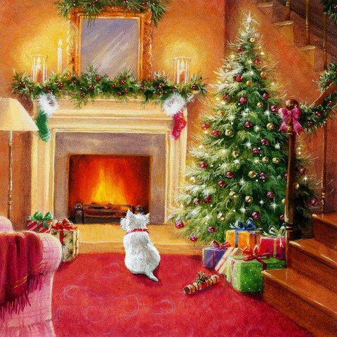 Christmas Home with Dog - Diamond Painting Corner