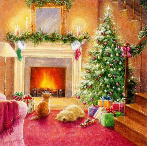 Christmas Home with Pets - Diamond Painting Corner