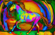 Colorful Horse Walking - Diamond Painting Corner