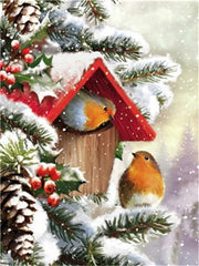 Couple of Christmas Birds - Diamond Painting Corner