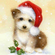 Cute Buddy with Santa Hat - Diamond Painting Corner