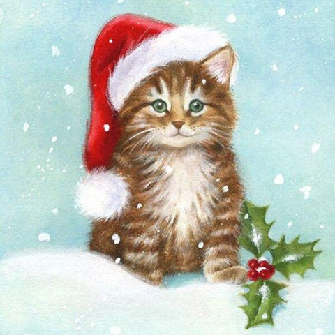 Cute Kitten with Santa Hat - Diamond Painting Corner