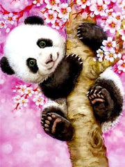 Cute Panda on a Tree Trunk Diamond Painting Kit - Diamond Painting Corner