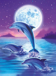 Dolphins and Moon - Diamond Painting Corner