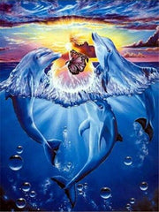 Dolphins with Butterfly Diamond Painting Kit - Diamond Painting Corner