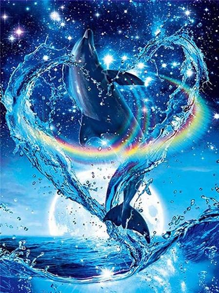 Dolphins with Rainbow Diamond Painting Kit - Diamond Painting Corner