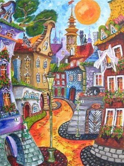 Drawn Houses 05 Diamond Painting Kit - Diamond Painting Corner