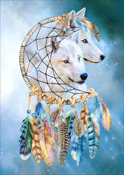 Dreamcatcher with White Wolves - Diamond Painting Corner