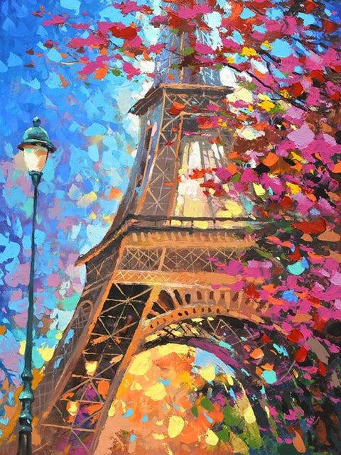 Eiffel Tower with Oil Painting Style - Diamond Painting Corner