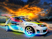 Fast Rally Car at Sunset - Diamond Painting Corner