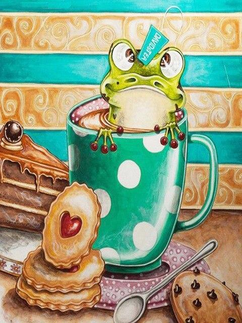 Frog Cartoon in a Chocolate Cup - Diamond Painting Corner