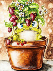 Frog Cartoon in a Flower Pot - Diamond Painting Corner