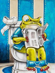Frog Cartoon in the Toilet Reading - Diamond Painting Corner