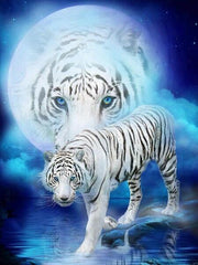 Full Moon & White Tiger Diamond Painting Kit - Diamond Painting Corner