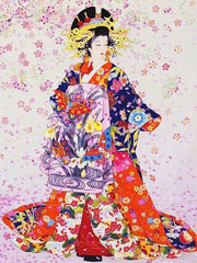 Geisha with Red Butterfly - Diamond Painting Corner