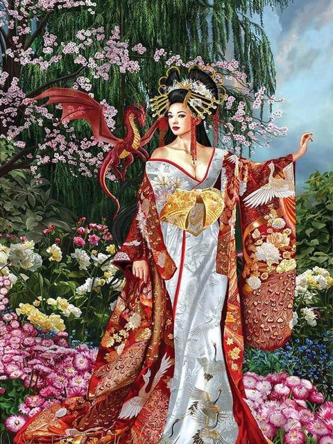 Geisha with Red Dragon - Diamond Painting Corner