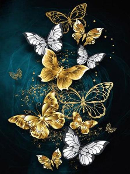 Gold Butterflies Diamond Painting Kit - Diamond Painting Corner
