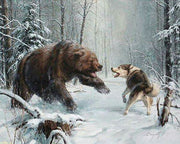 Grizzly Bear Arguing with a Wolf - Diamond Painting Corner