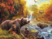 Grizzly Bear with Cubs near River - Diamond Painting Corner