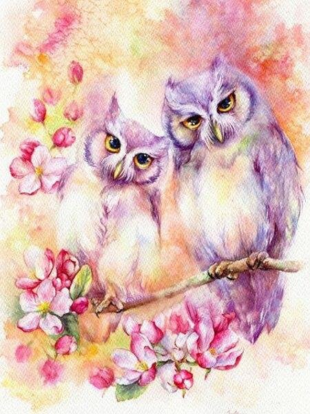 Lilac Owl Couple Diamond Painting Kit - Diamond Painting Corner