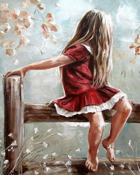 Little Girl in the Wooden Fence - Diamond Painting Corner