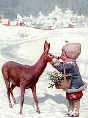 Little Girl Kissing a Fawn - Diamond Painting Corner