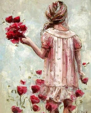 Little Girl with Red Flowers - Diamond Painting Corner