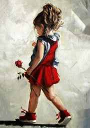 Little Girl with Rose - Diamond Painting Corner
