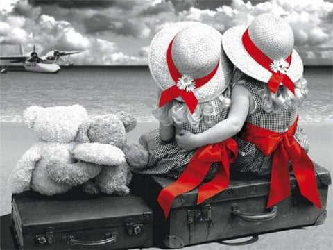 Little Girls with Red Bows with B&W - Diamond Painting Corner