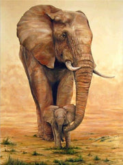 Mom & Cub Elephants 02 Diamond Painting Kit - Diamond Painting Corner