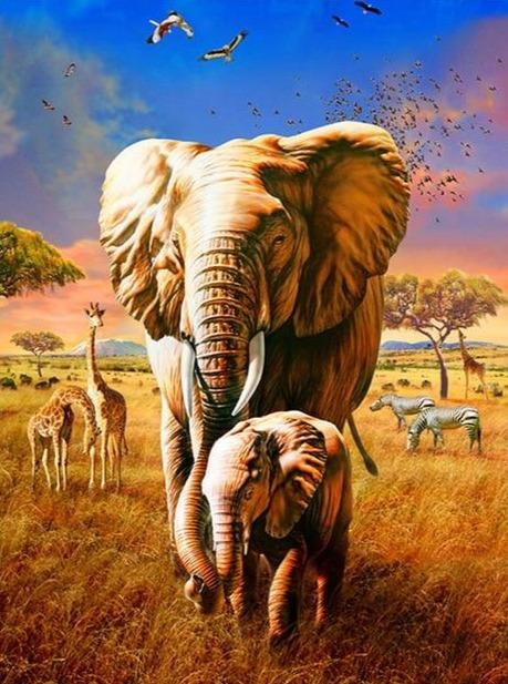 Mom & Cub Elephants 04 Diamond Painting - Diamond Painting Corner