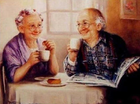 Old Couple Having Breakfast - Diamond Painting Corner