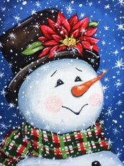 Portrait of Snowman with Top Hat - Diamond Painting Corner