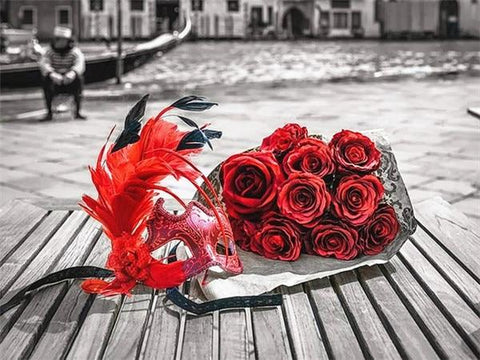 Red Roses Bouquet in Venice with B&W - Diamond Painting Corner