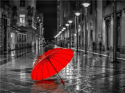 Red Umbrella with B&W - Diamond Painting Corner