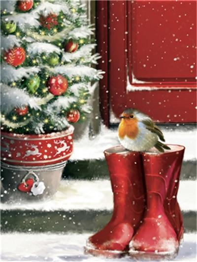 Robin Bird and Red Boots - Diamond Painting Corner