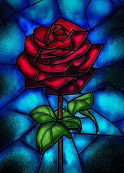 Rose Made with Stained Glass - Diamond Painting Corner
