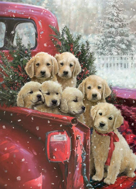 Seven Labrador Puppies in the Pick-up - Diamond Painting Corner