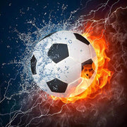 Soccer Ball with Fire and Water - Diamond Painting Corner