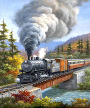 Steam Train Crossing The River - Diamond Painting Corner