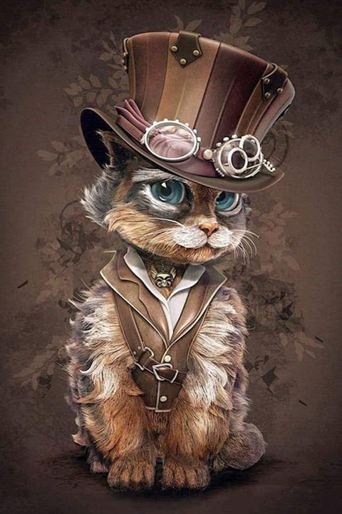 Steampunk Cat - Diamond Painting Corner